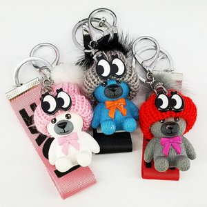 New Creative Hat Webbing Bear Keychain Pendant Resin Bag Key Mobile Phone Jewelry Accessories Hanging DH20180722-2