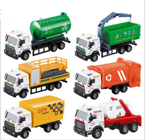 Wholesale 1 Scale Diecast Metal Alloy Car Model Pull Back Toys Car Model Children Sanitation Truck Series Tanker Rescue Vehicle Model Toys
