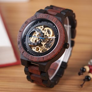 Wholesale BOBO BIRD Wooden Watches Men Automatic Mechanical Wristwatch Waterproof Male forsining in Gift Wood Box masculino watch