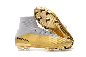 Wholesale Children White Gold CR7 Soccer Cleats Mercurial Superfly Kids Soccer Shoes High Ankle Cristiano Ronaldo Mens Womens Football Boots