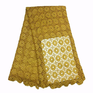 Gold color hot Selling French Lace Wholesale Price High Quality African Tulle cord Lace Embroidered Lace Fabric GYSW0007