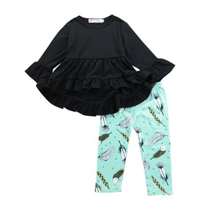 Wholesale Spring Kid Girls Clothes Black Asymmetrical Tops Feather Pants Set Outfits Ruffles Long Sleeve Shirt Kids Girl Clothing Toddler T