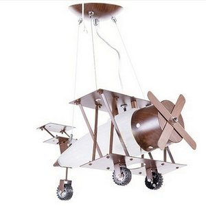 Loft vintage industrial Aircraft Creative LED pendant light for Boy Girl Children baby airplane hanglamp bedroom