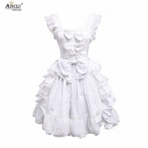Wholesale Sweet Lolita Dress Cosplay Costume Womens White Sleeveless Bows Ruffles Cotton Cute Lolita Dress Ainclu S XXL Party Club