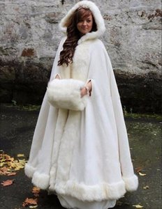 Wholesale White Ivory Bridal Cape Wedding Cloaks Hooded with Faux Fur Trim Warm Adult Winter For Winter Bridal Wraps Capes Poncho
