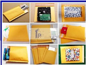 Wholesale-100PCS 9cmx13+4cm Good quality Yellow Color Kraft Paper Air Bubble Bag Mailers Envelope wthout printing on Sale