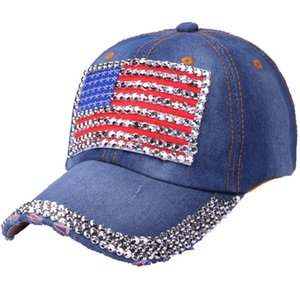 Wholesale 2018 American Flag Cap high quality snapback cap demin baseball Jean badge embroidery hat women boy Drop Shipping a16