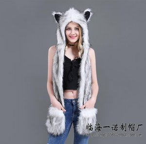 Wholesale dropshipping New Fashion Animal Warm Winter Faux Fur Hat Fluffy Plush Cap Hood Scarf Shawl Glove Dint