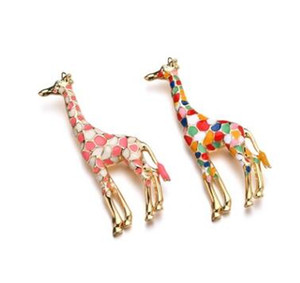 Wholesale pearl brooch gift for sale - Group buy Colours animal brooches pins giraffe flamingos corsages pearl cartoon brooch pin gifts men women jewelry