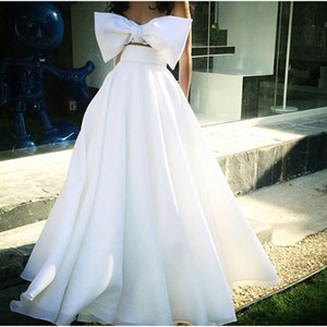 2019 Arabic Formal Evening Dresses Floor Length Two Pieces White Big Bow Bridal Party Prom Cocktail Gowns Custom Made on Sale