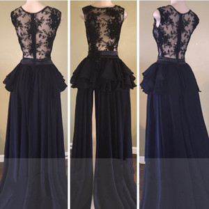 Temperament Maid Of Honor Dresses Evening Wear Delicate Lace Chiffon Black Long Prom Dress Front Split 2019 Formal Dress Split Front Side on Sale
