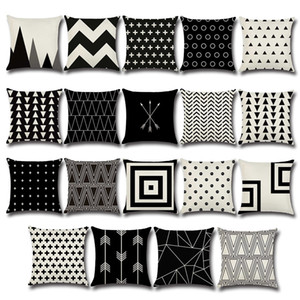 Wholesale arrow pillow covers for sale - Group buy Black and white cross Pillow Case Dot Arrow wave Pattern Pillowcase Cotton Linen Printed Geometry Euro Pillow Covers cm C5532