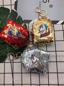 10*8cm Unicorn Sequin Coin Purse Mermaid Scales Keys Bag Small School Bag for Student Mini Purse Headphone Money Bag Christmas Gift