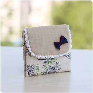 Wholesale Cotton fabric floral printing women coin purse female small pouch Sanitary napkin package bolsa feminina bolso mujer for girls