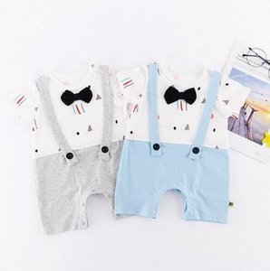Wholesale INS hot Style new cotton gentleman bow tie baby romper baby summer short sleeve soft romper clothing