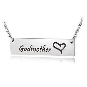 Wholesale Godmother Goddaughter charm pendant Necklace Hand Stamped Bar Necklace for women family jewelry gift