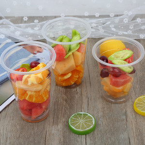 Wholesale 100pcs a set crystal clear Cups with Lids Disposable Plastic Cup Smoothie cup for Cold Drinks Iced Coffee Bubble Boba Tea