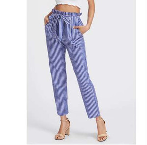 lazo a rayas al por mayor-Frill Elastic Waist Pinstripe Pants Self Tie Pants Mujeres Fashion High Waist Blue Striped Long Pants Mujeres
