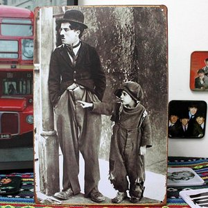 Wholesale wall decor family Charlie Chaplin Tin Sign Metal Poster Wall Decoration Bar Club Shop Home Hanging Decor x20cm