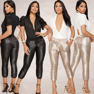 Wholesale Sequin Women Pants Elastic Waist Drawstring Pocket Design Capri Length Skinny Pants Outfit Champange Black S-XL