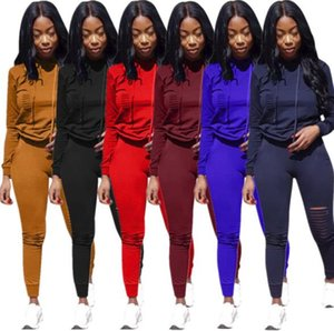 Wholesale Women Ripped Hoodies Two Piece Set Outfits Hoody Tights Leggings Tracksuit Pullover Sweat Pants Sportswear plus size women clothes DHL