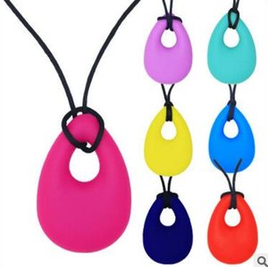 Wholesale Silicone Teething Necklace Baby Water Drop Soft Nursing Pendants For Mom Wear Teether Toys BPA Free Girl BoyTooth Training Chewing Massager