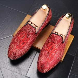 2018 New Style Summer embroidery slipcover golden lace leisure shoes personality breathable loafers hair stylist shoe S118