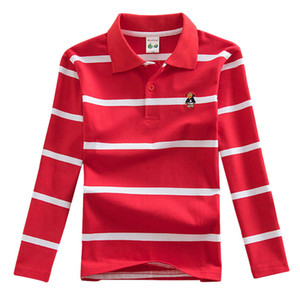 Wholesale Children s Polo Shirts Spring Autumn Long Sleeve Striped Kids Boys Cotton Lapel Polo Shirt for Child Years Boy Clothes