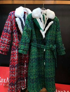 Wholesale New Arrival Women s Woven lattice Wool Long Coats Lapels Neck with Rex Rabbit furs Lining collar Green Red