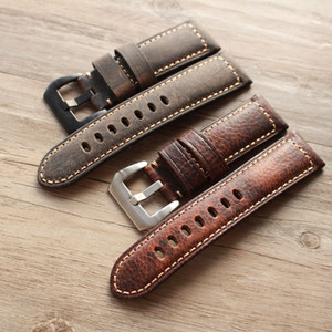 Wholesale 2019 New design High end fashion mm mm MM MM Handmade Leather Watch Band Men Strap for pam Big branded watch Watchbands