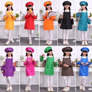 Wholesale Multi Candy Color Aprons Kids Apron Pocket Craft Cooking Baking Art Painting Kids Kitchen Dining Bib Children Aprons Kids Aprons HH7