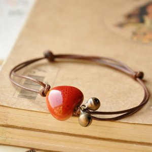 Wholesale New Fashion Coffee Rope Bracelet For Women Styles Round Square Heart Shape Ceramic Pendant Bracelets Adjustable Ethnic Jewelry