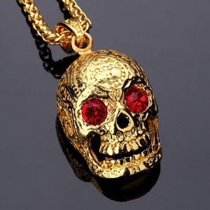 Wholesale Fashion Jewelry Skeleton Punk Rock Mexican Tattookull Pendant Necklace With Red Eyes Crystal Charm Men Gold Hip Hop Chain