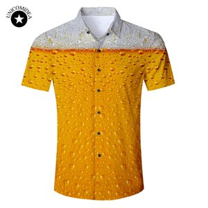 Wholesale Beer Print Shirt Mens Funny Novelty Dress Shirts Short Sleeve Tops Male Slim Fit Blouse Hawaiian Shirt Casual Brand Clothing