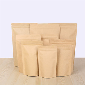 Wholesale Zipper Brown Kraft aluminizing pouch Stand up kraft paper aluminium foil bag Resealable Zip Lock Grip seal Food Grade LZ1873