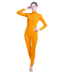 (SWH029) Yellow Spandex Full Body Skin Tight Jumpsuit Zentai Suit Bodysuit Costume for Women Men Unitard Lycra Dancewear