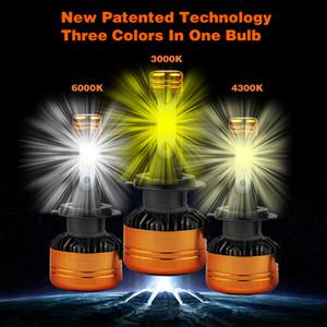 PAMPSEE 2PCS Car Tricolor 3Color LED Headlight Z5 H1 H4 H7 H11 100W 5800LM Flip Chips 3000K 4300K 6000K Switchback LED Bulbs