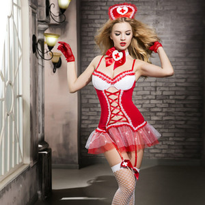 Wholesale Women Sexy Nurse Lingerie Hot Nurse Uniforms Erotic Halloween Costumes hat Comfortable SM Cosplay Lingerie Sexy Costumes