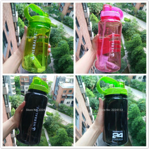 Wholesale shake bottles resale online - 2000ml high quality fashion herbalife simple style Sports water bottle straw belt outdoor space water nutrition shake bottle