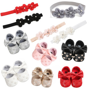 Wholesale Hot Red Hearts Baby Shoes Girls PU Leather Bow Headbands Sets Girls Toddler Princess Sapatos De Menina Baby Shoes