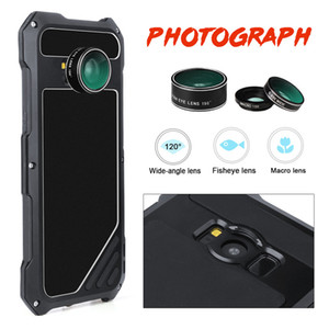 Wholesale Shockproof Metal Leather Case With Camera Angle Lens Micro Lens For Samsung S8 Plus S7 Dust proof Waterproof Drop Resistance Cellphone Cover