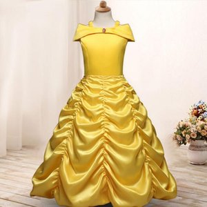 Girls Princess Dress up Costume Kids Sleeveless Yellow Party Dress Children Girl Carnival Xmas Birthday Ball Gown