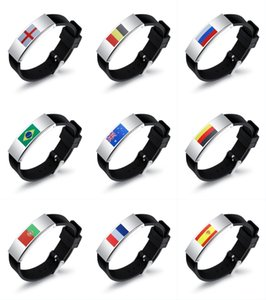 Wholesale 2018 Russia World Cup Football Multinational Flag Personality Metallic Silicone Sports Bracelet Football Fan Watch Men's Bracelet G556R