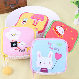 Wholesale Cute Cartoon Sanitary Napkin Storage Bag Soft Cotton Girls Diaper Sanitary Pads Package Bags Coin Purse Jewelry Organizer Pouch