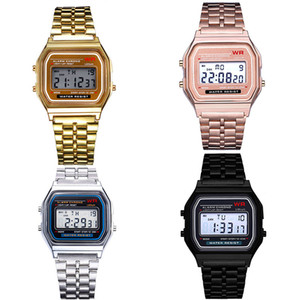 Wholesale 5 Colors F W Watches Fashion Ultra thin Rose Gold LED Watch F91W Men Women Sport Alarm Watch