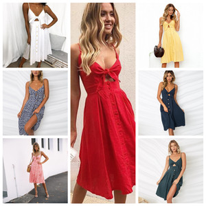 7styles Sexy Women V-neck Sleeveless Dress Party Cocktail Strapless Buttons Bowknot Foral Casual Backless FFA299 Jogging Clothing 30pcs