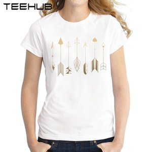 Women's Tee Be Brave Women T Shirt Short Sleeve Slim Lady Tops Gold Little Arrow Printed Girl's T-shirt Novelty Famale Tee
