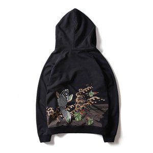 Wholesale 2018 New Autumn Hoodies Sweatshirts Men Embroidered Flowers Long Sleeve Pullovers Top Thin Hip Hop Cotton Hoodies Sweatshi Black