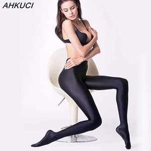 Wholesale AHKUCI New Brand Women Sexy Black Shiny Elastic Tights Plus Size Nylon Stretchy Warm Pantyhose High Quality Collant Femme leggin