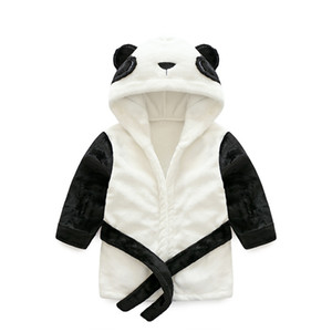 Baby Nightgowns Newborn Panda Bathrobe Flannel kids robe hooded pajamas bath dress children soft robes sleep wear